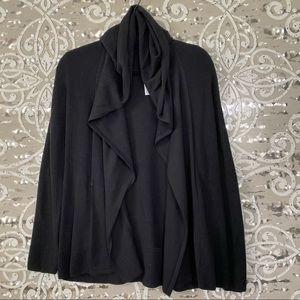 LULULEMON Black Ribbed Knit Hooded Cardigan Wrap